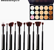 10PCS Silver Black Handle Cosmetic Makeup Brush Set&15 Colors Camouflage Natural Concealer/Foundation/Bronzer