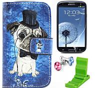 teste padrão do cão caso pu couro com protetor de tela e ficar de pé e plugue poeira para Samsung i8190 s3 mini-