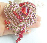 Gorgeous 3.15 Inch Gold-tone Pink Red Rhinestone Crystal Love Heart Brooch Art Deco