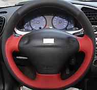 xuji ™ красный черный натуральная кожа черная замша чехол руль для Ford Fiesta MK4 4 1996-2006 старый фиеста
