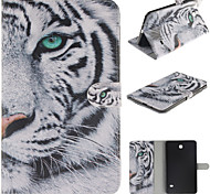 White Tiger Pattern PU Leather Full Body Case with Card for Samsung Galaxy Tab 4 8.0 T330/Tab A 8.0 T350 T351
