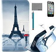 COCO FUN® Red Umbrella Tower Pattern PU Leather Case with Screen Protector and USB Cable and Stylus for iPhone 4/4S