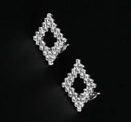 European and American Fashion Full Diamond Fake Diamond Earrings   Clip Earrings Wedding/Party/Daily/Casual 2pcs