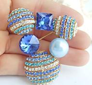 2.17 Inch Gold-tone Blue Rhinestone Crystal Brooch Pendant