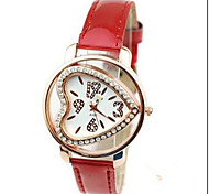 Ladies'Watch Heart-Shaped Red Rhinestone Belt Watch