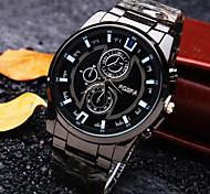 nuevo reloj de cuarzo de los hombres de negocios clásica redonda de acero de línea de moda correa