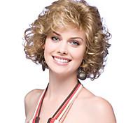 жен. Короткий Кудрявые Искусственные волосы Машинное плетение Без шапочки-основы Парик из натуральных волос