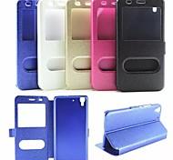 caso janela dupla abertura aleta Japão e Coréia moda pu shell telefone celular para huawei 4a cores sortidas