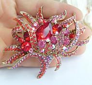 2.95 Inch Gold-tone Red Rhinestone Crystal Flower Brooch Pendant Art Decorations