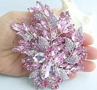 4.33 Inch Silver-tone Pink Rhinestone Crystal Flower Brooch Art Deco Brooch Bouquet