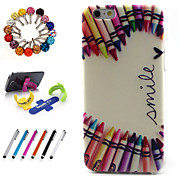 Good Quality  TPU Coloured Drawing or Patter Novelty  with Stylus Pen, Dustproof Plug and Stand for iPhone 4/4S