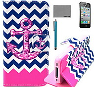 COCO FUN® Flower Anchor Pattern PU Leather Case with Screen Protector and USB Cable and Stylus for iPhone 4/4S