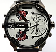 homens oulm esportes impermeável relógio de quartzo calendário relógio relógio de pulso de couro genuíno montre reloj relogio masculino
