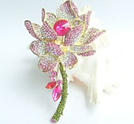 Gorgeous 4.13 Inch Gold-tone Pink Rhinestone Crystal Water Lily Brooch Art Deco