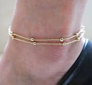 женщины моды золотая пластина мяч медные двухслойные цепь пляж браслеты