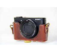 Dengpin PU Leather Camera Case Bag Cover with Shoulder Strap for Sony DSC-HX90V HX90 WX500 (Assorted Colors)