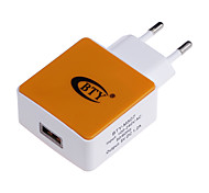 BTY M507 1.2A Universal USB Power Charger Adapter - White + Orange (100~240V / EU Plug)