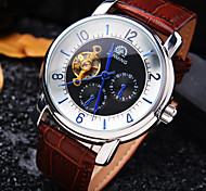 Men's New High-end Business Round Dial Mineral Glass Mirror Genuine Leather Band Fashion Mechanical Waterproof  Watch