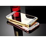 diamante luxo espelho decorado pc + tampa traseira de metal de alumínio pára-choques caso de quadros para iphone 6 (cores sortidas)