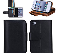 Fashion PU Leather Full Body Cases Phone Cover with Wallet 7 Card Slot and Stand for iPhone 4/4S