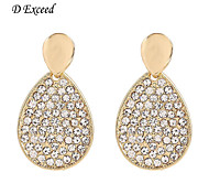 D Exceed  Lady Gold Earrings Alloy Plated White Color Rhinestone Waterdrop Drop Earings Jewelry Free Shipping