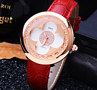Women's New Trend Elegant Luxury Round Diamond  Flower Shape Dial Genuine Leather Band Fashion Quartz Watch