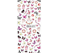 Big Page Water Transfer Printing Pink Butterfly Nail Stickers