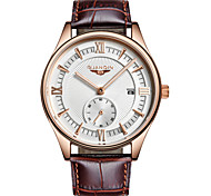 GUANQIN Men's Wrist watch Calendar Chronograph Water Resistant / Water Proof Luminous Quartz Leather Band Black Brown