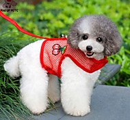 FUN OF PETS® Cute Embroidery Strawberry Pattern Breathable Harness with Leash  for Pets Dogs(Assorted Sizes and Colours)