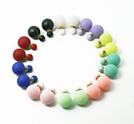 Beadia 1Pc Fashion Stud Earrings 16mm Round Plastic Double Side Stud Earring (10 Colors)