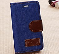 Denim PU Leather Full Body Cases Phone Protective Case with Card Bag for iPhone 4 4S