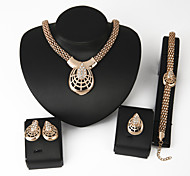 Women Wedding Jewelery Bridal Water-drop Diamond Spider Mask Necklace Earrings Ring Bracelet Four Sets