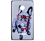 Glasses Dog Pattern PC Material Phone Case for Nokia Lumia 435
