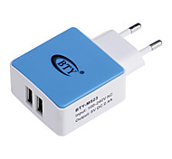 BTY M523 2.4A Universal USB Power Charger Adapter - White + Blue (100~240V / EU Plug)
