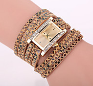 Xu™ Women's Leopard Grain Square Bracelet Quartz Watch