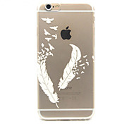 White Feathers Pattern TPU Cell Phone Soft Shell For iPhone 6 Plus