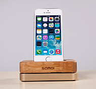 Samdi® Luxury Bamboo Aluminium Metal Stand Mobile Phone Charging Holder Dock Mount for Apple iPhone 6/5S/5C/4S