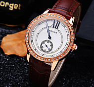 Women's New Luxury Trend Round Diamond Dial Genuine Leather Band Fashion Quartz Bracelet Watch (Assorted Colors)