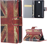 UK Flag PU Leather Wallet Full Body Case with Stand for Microsoft Lumia 430