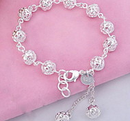 WH  925 Silver Ball Crystal Tassel PendantBracelet Jewelry