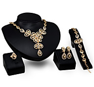 Gold Jewelry Four Big Butterfly Bride Wedding Jewelry Set