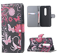 Purple Butterflies Wallet Leather Stand Cover case for flip Motorola MOTO G3 G 3nd Gen XT1552