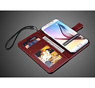 Pour Samsung Galaxy Coque Avec Support / Avec Ouverture Coque Coque Intégrale Coque Couleur Pleine Cuir PU Samsung S6 edge plus