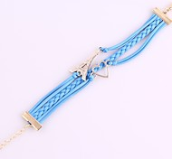 Jewelry Love Tower Leather Woven Bracelet Light Blue Bangle