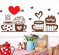 Fashion Love Coffee Milk Cup Style Plane Wall Stickers Wall Decor , PVC Removable