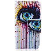Eyes Pattern PU Leather Wallet Design Full Body Case with Stand for iPod Touch 5/6