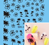 Water Transfer Printing Black Coconut Trees Nail Stickers
