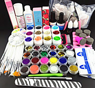 80PCS Glitter UV Color Gel Cleanser Primer Nail Art Kit Set