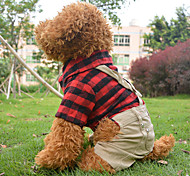 Red Cotton British Lattice Overalls Coats/Pants For Dogs/Pets