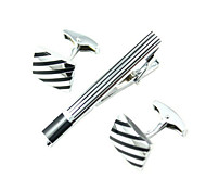 Male business cufflinks and tie clip